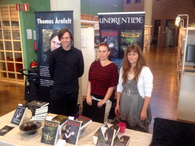 Three Undrentide authors at Östergötlands bokmässa, Linköping, 2015. From left to right: Myself, Anna Blixt, and Helena Andersson